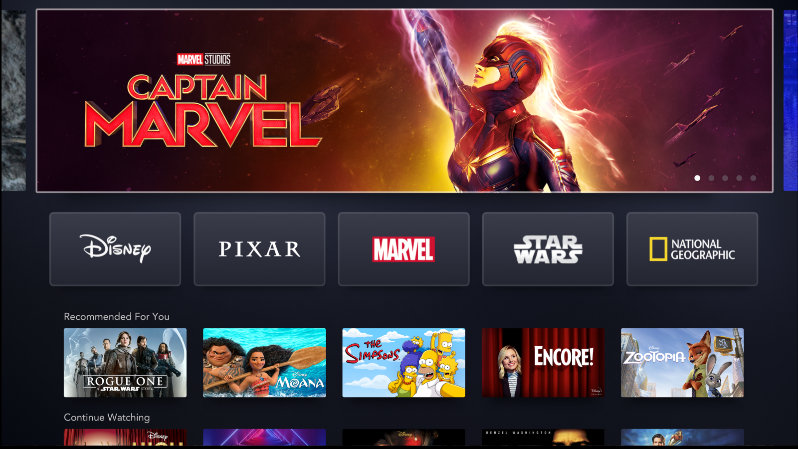 Disney+ interface