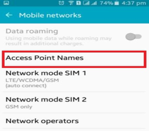 Check your phone for Apn Setting