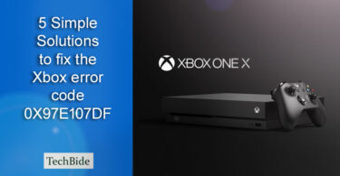 the Xbox error code 0X97E107DF