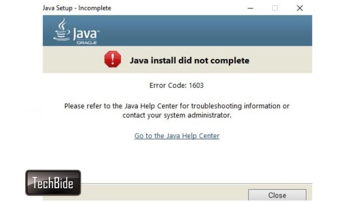 java error code 1603